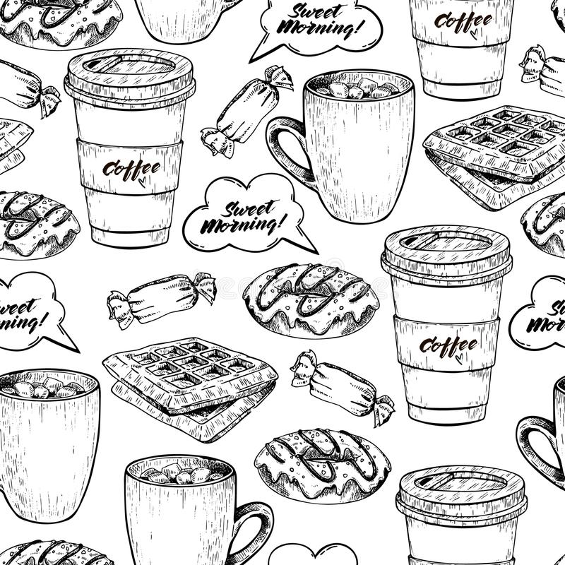 Vector hand drawn seamless pattern of coffe, donut, waffel and candy. Sweet breakfast. Hand drawn set of fast food stock illustration