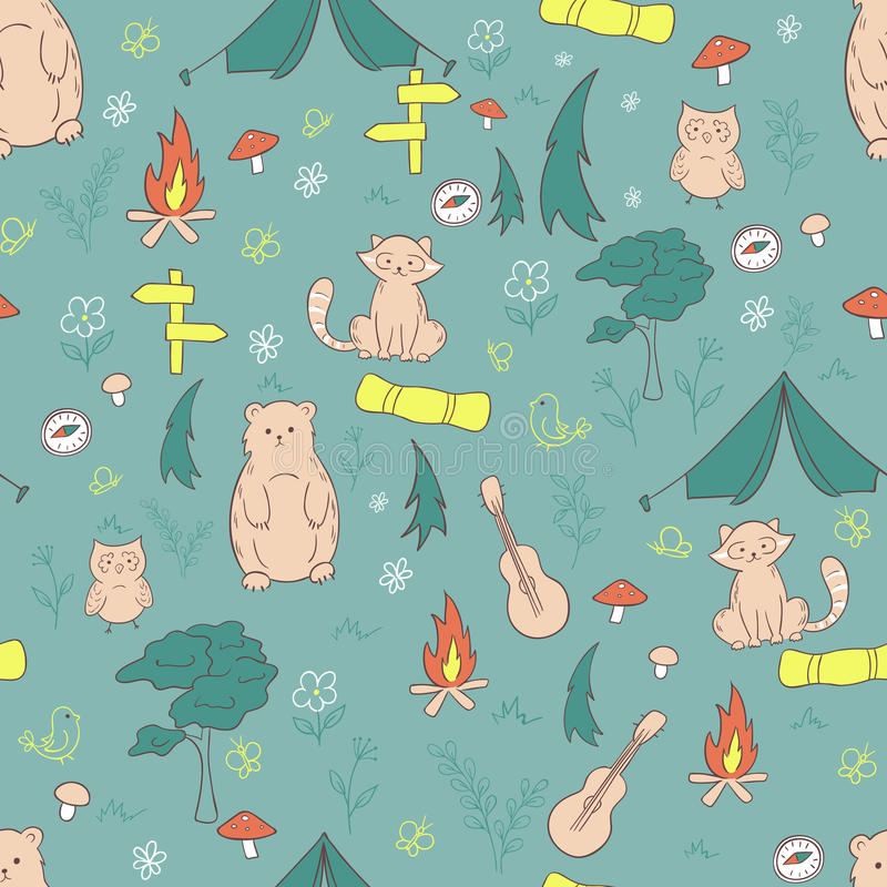 Vector hand drawn seamless pattern with funny camping stuff vector illustration