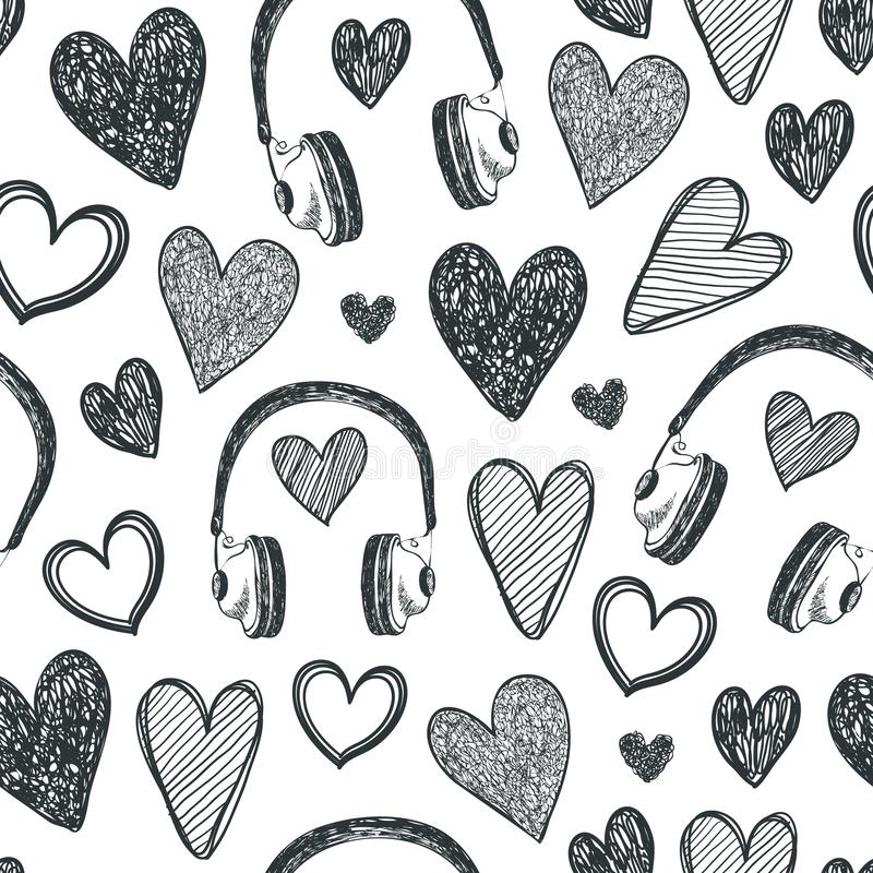 Vector hand drawn seamless pattern. Hearts, retro headphones, music background. Black and white doodle royalty free illustration