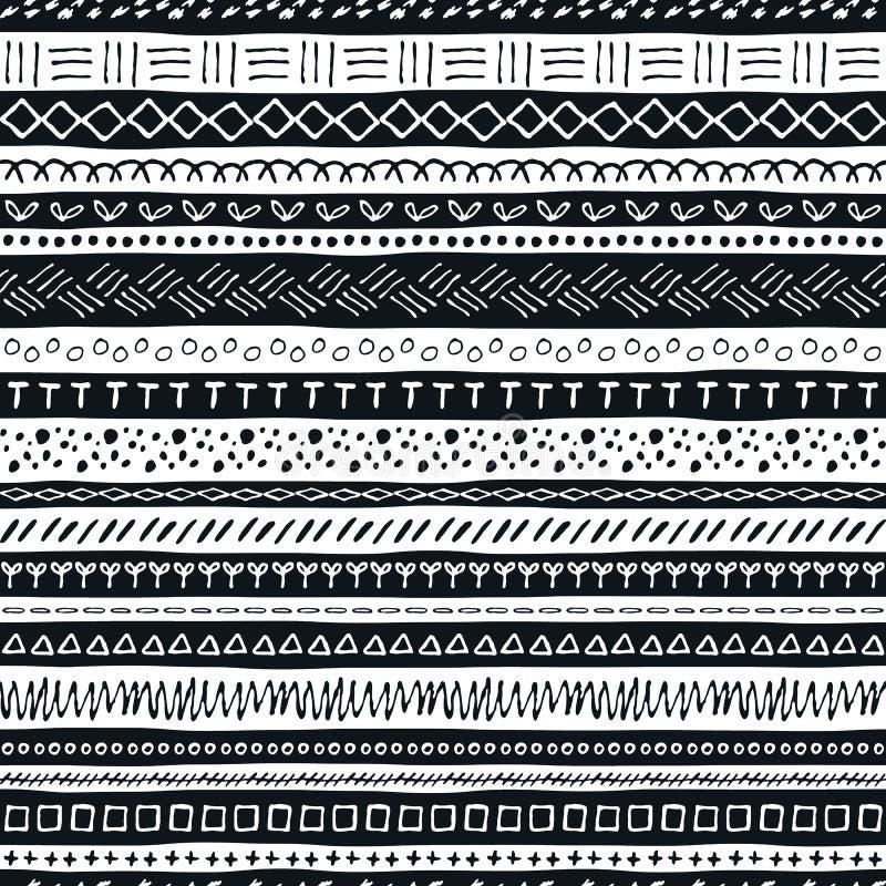 Vector hand drawn seamless pattern stock illustration