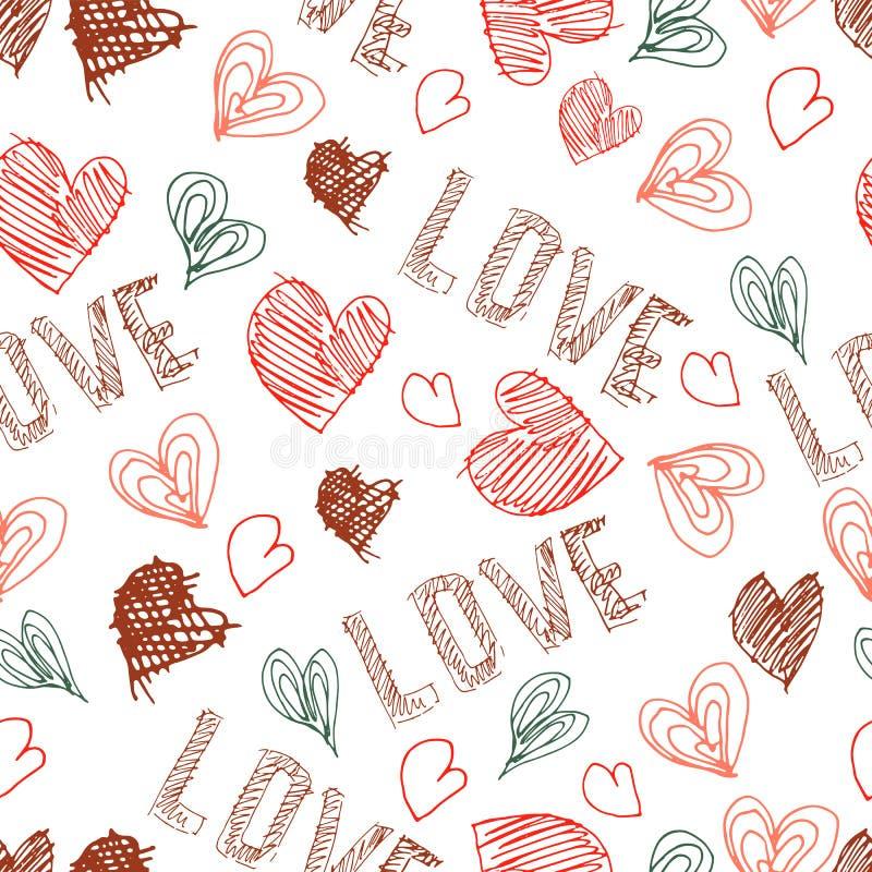 Vector hand drawn seamless pattern. Valentines day. stock illustration