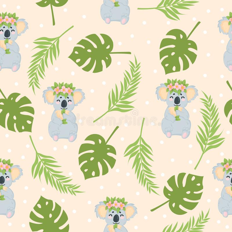 Free Vector Hand Drawn Seamless Pattern With Cute Koala Bear With Flower Wreath Eating Eucalyptus Leaf On Begie Background With Tropica Royalty Free Stock Photography - 171315597