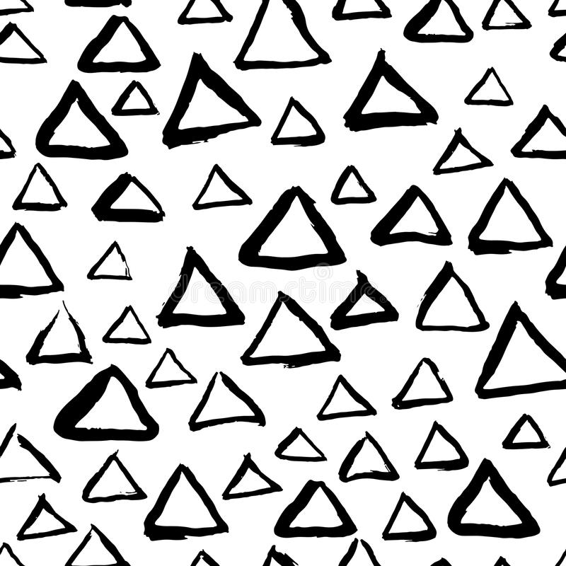 Vector hand drawn seamless triangle pattern. Black and white ink background. Design for fashion textile print. Vector abstract hand drawn seamless triangle vector illustration