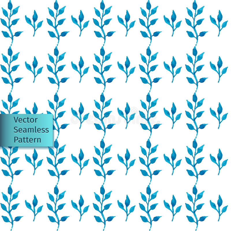 Vector hand drawn seamless watercolor blue leaves natural decorative floral ornamental pattern vector illustration