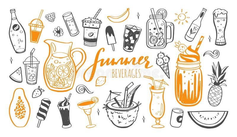 Vector hand drawn set of Cold drinks, summer cocktails and beverages with fruits. Various doodles for beach party, bar. Restaurant menu. Isolated objects royalty free illustration