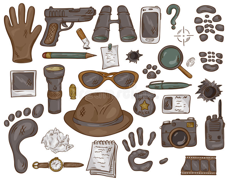 Vector hand drawn set of illustration with detective tools and evidence stock illustration