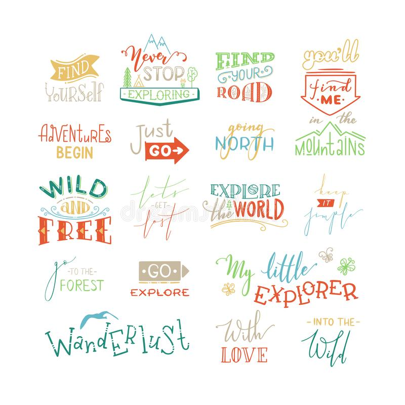 Vector hand-drawn set of lettering quotes about nature and wanderlust stock illustration
