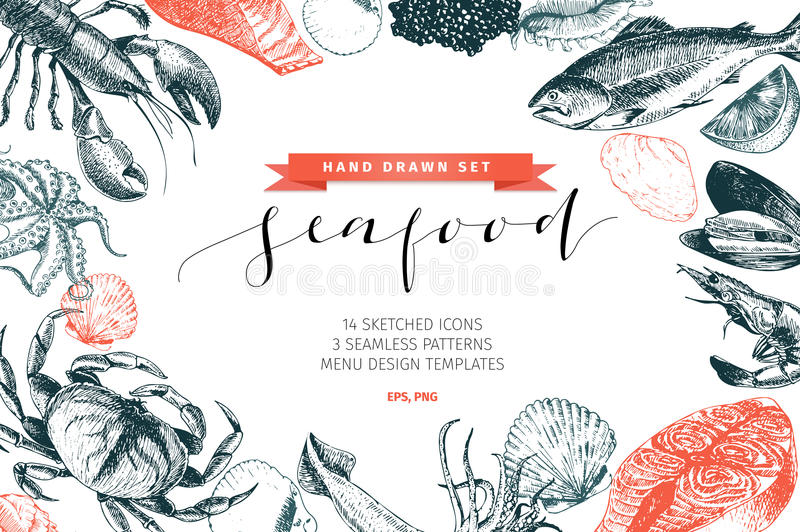 Vector hand drawn set of seafood icons. Lobster, salmon, crab, shrimp, ocotpus, squid and clams. Delicious menu objects. Vector hand drawn set of seafood icons royalty free illustration