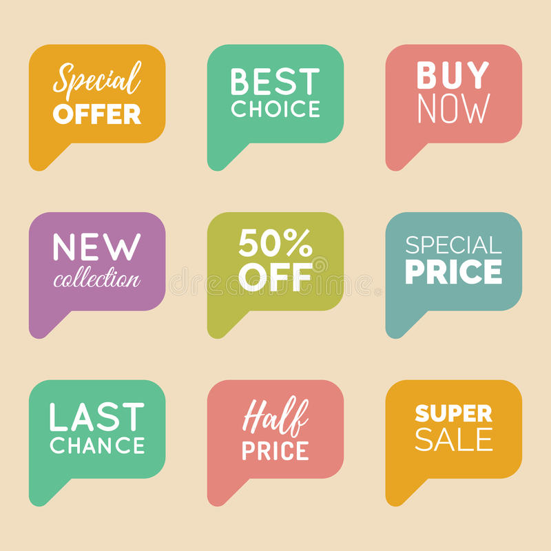 Vector hand drawn set of speech bubbles with sale phrases. Discount card collection, Buy Now,Half Price,Last Chance etc. stock illustration