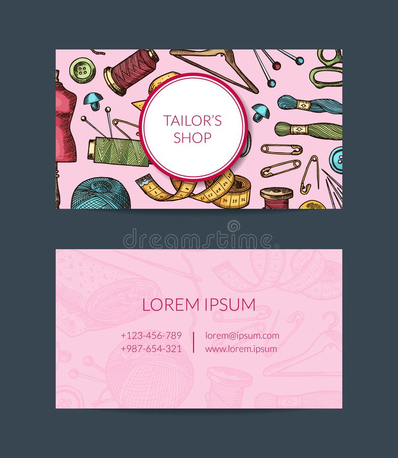 Vector Hand Drawn Sewing Elements Card Template For Atelier, Sewing ...