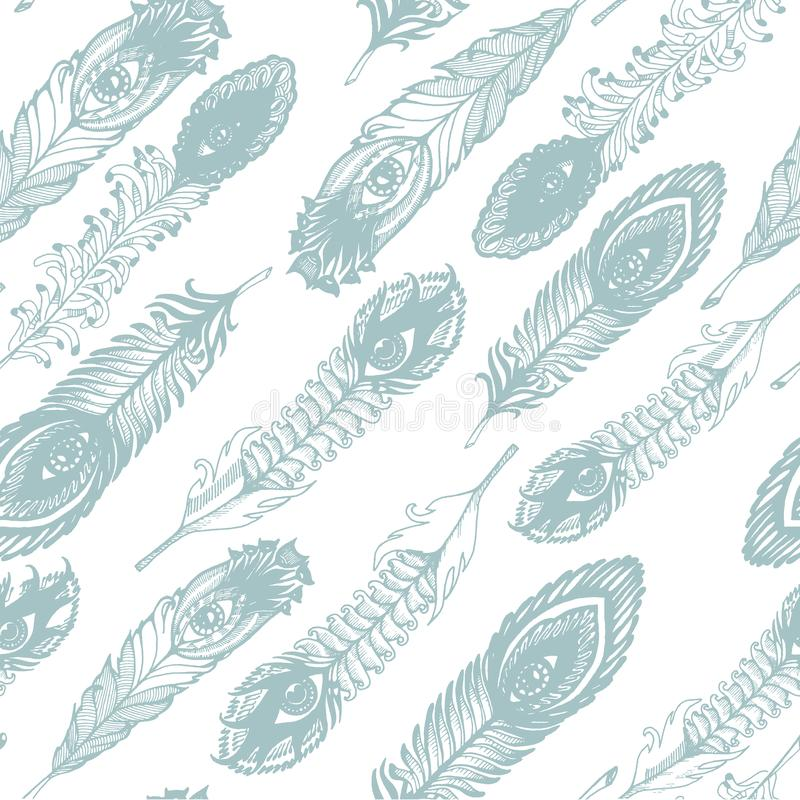 Vector Hand drawn sketch of abstract feather illustration on the white background seamless pattern vector illustration