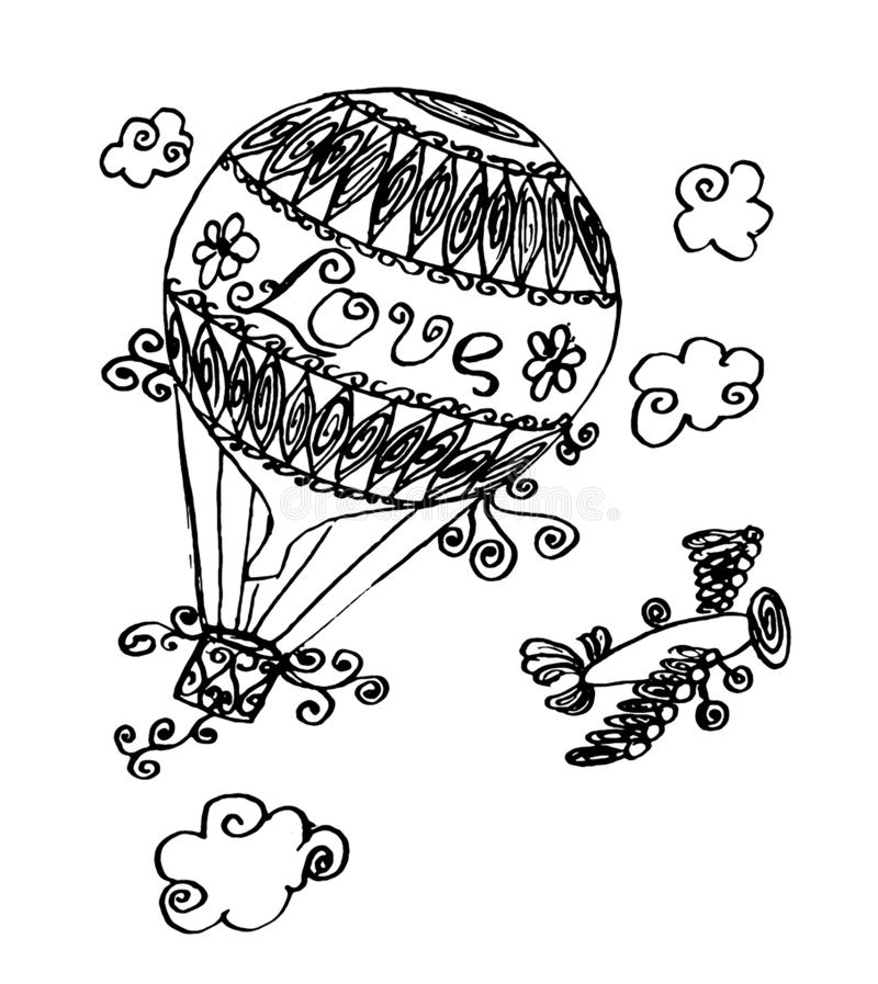 trip with hot air balloon stock vector  illustration of landscape