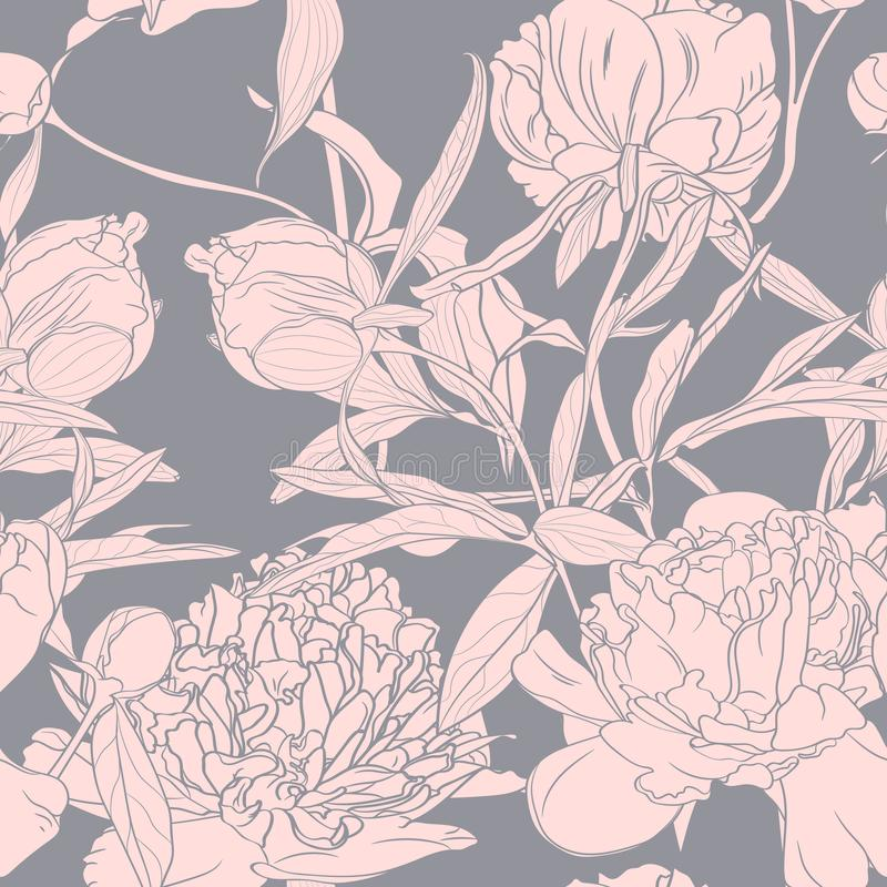 Vector hand drawn sketch illustration of pink peony flowers seamless pattern. Floral grey background, royalty free illustration