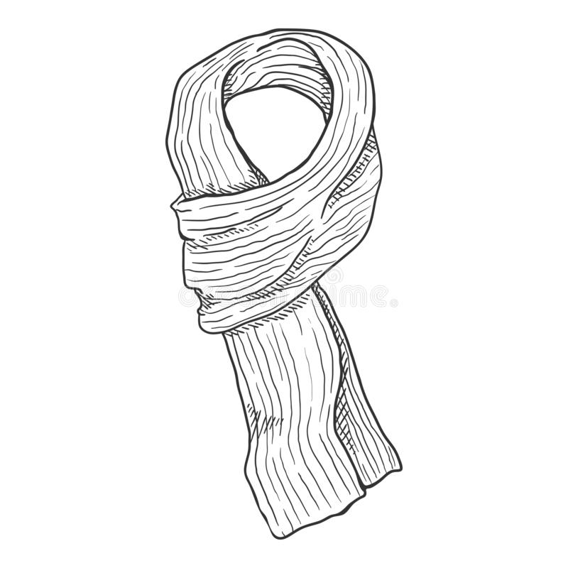 Vector Sketch Knitted Scarf vector illustration