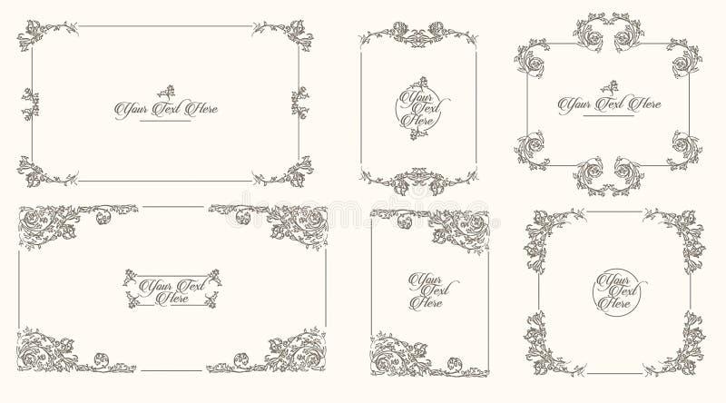 Vector Hand drawn sketch of vintage frames illustration on white background. Vector Hand drawn sketch of vintage frames illustration royalty free illustration