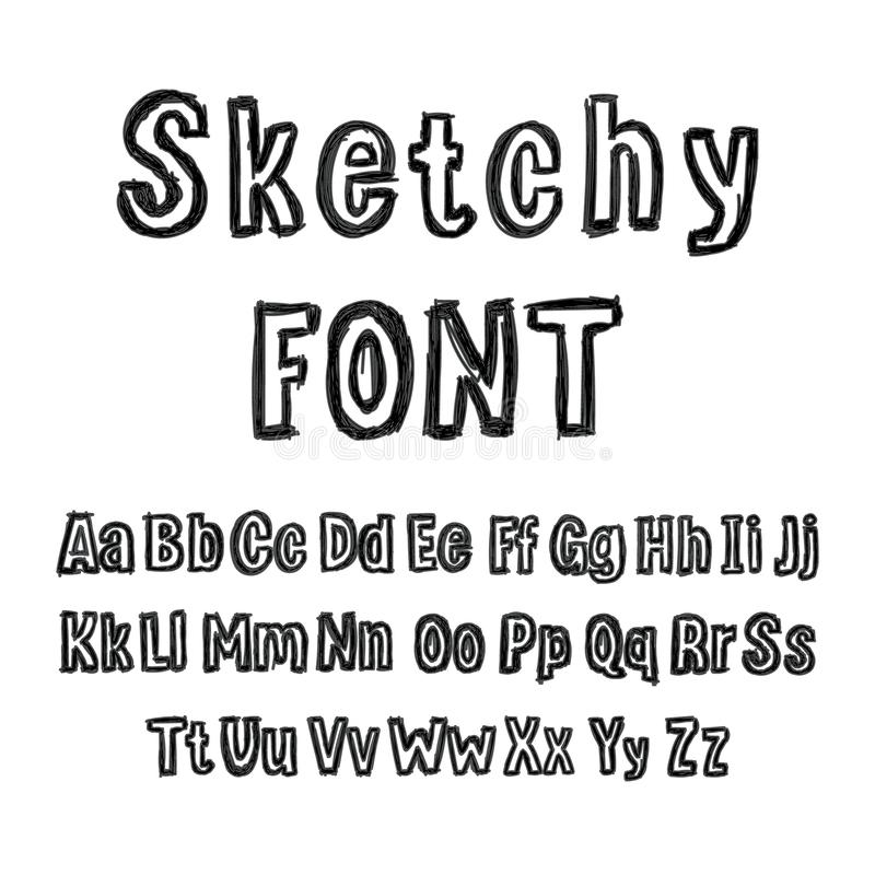 Vector Hand Drawn Sketchy Black Font, Isolated on White Background Marker Drawings. stock illustration