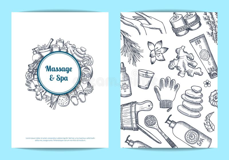Vector hand drawn spa card, flyer template illustration. Vector hand drawn spa elements card, flyer or brochure template illustration vector illustration
