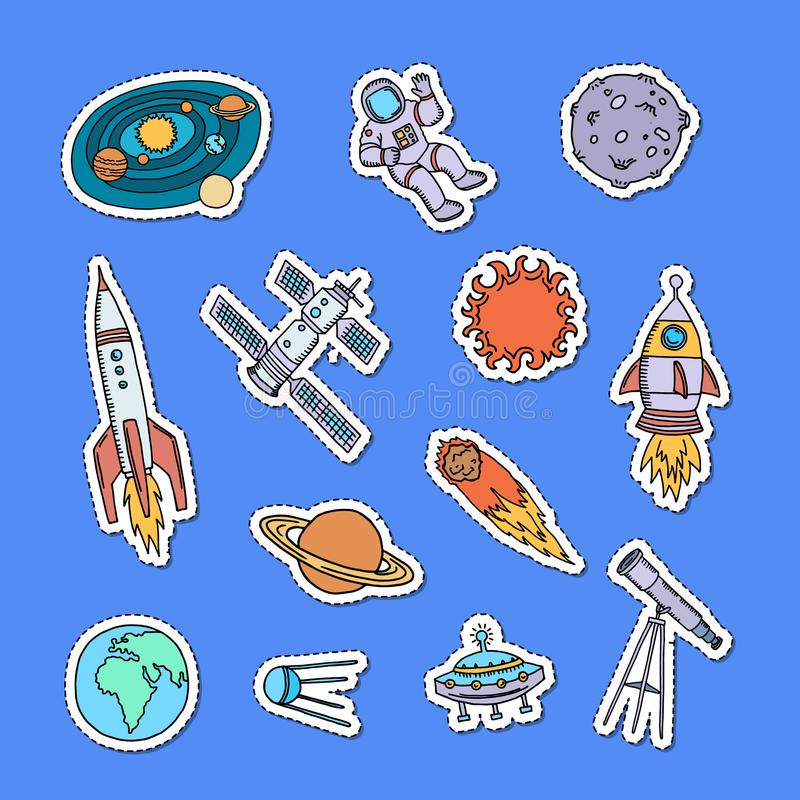 Vector hand drawn space elements stickers set illustration royalty free illustration
