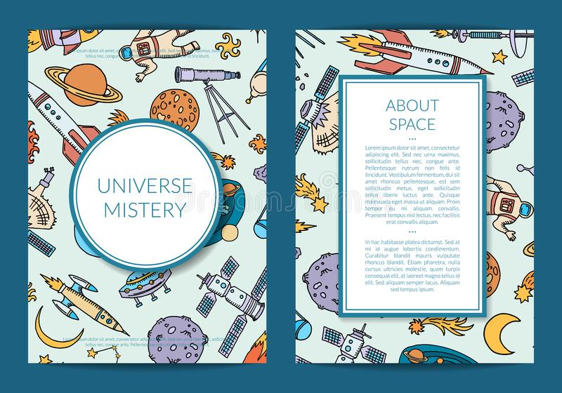 Vector hand drawn space science elements card stock illustration
