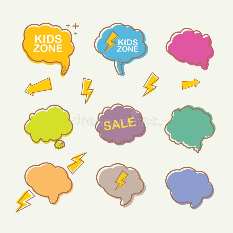 Vector hand drawn speech bubbles set isolated on white background. Summer retro cartoon style speech bubbles and royalty free illustration