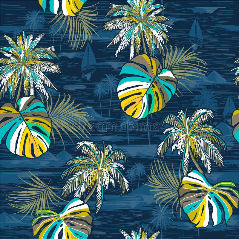 Vector hand drawn style summer seamless palm leaves island pattern on monotone Landscape with palm trees,beach and ocean. On dark blue color background royalty free illustration