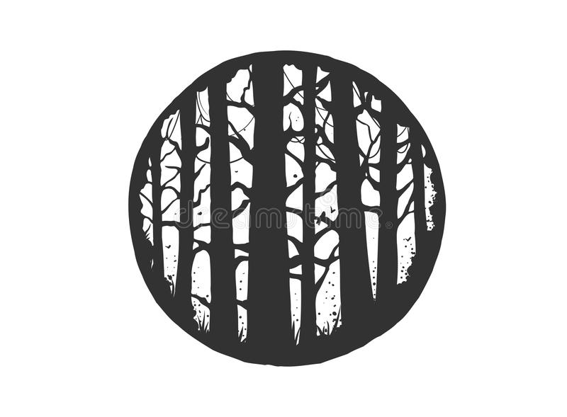 Vector hand drawn style typography poster with pine trees forest. hipster style illustration stock illustration