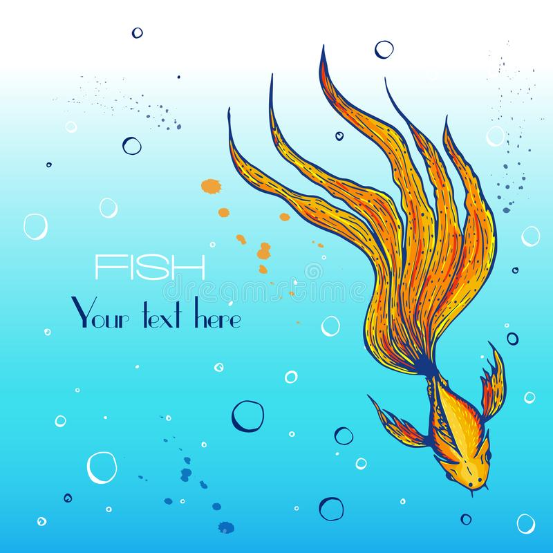 Vector hand drawn stylised koi or gold or fighting fish with long wavy tail, concept. vector engraved and colored fish. Illustration on blue background like royalty free illustration