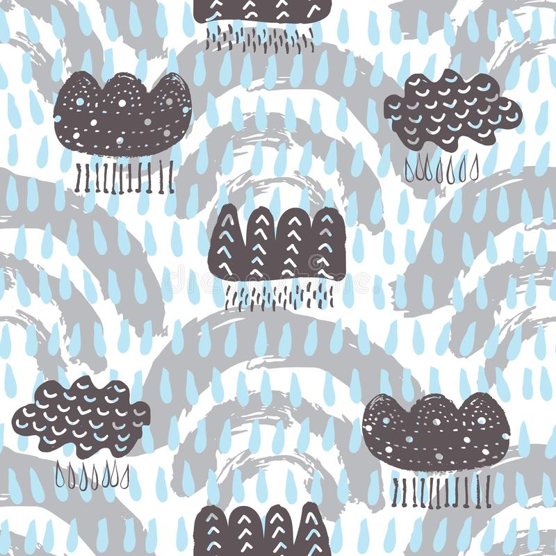 Vector hand drawn stylized blue and grey clouds and rain seamless repeat pattern background. Perfect for kids apparel, fabric, hom royalty free illustration