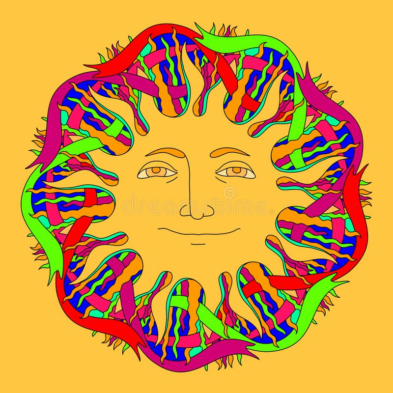 Vector hand drawn sun and colorful ribbons on yellow. vector illustration