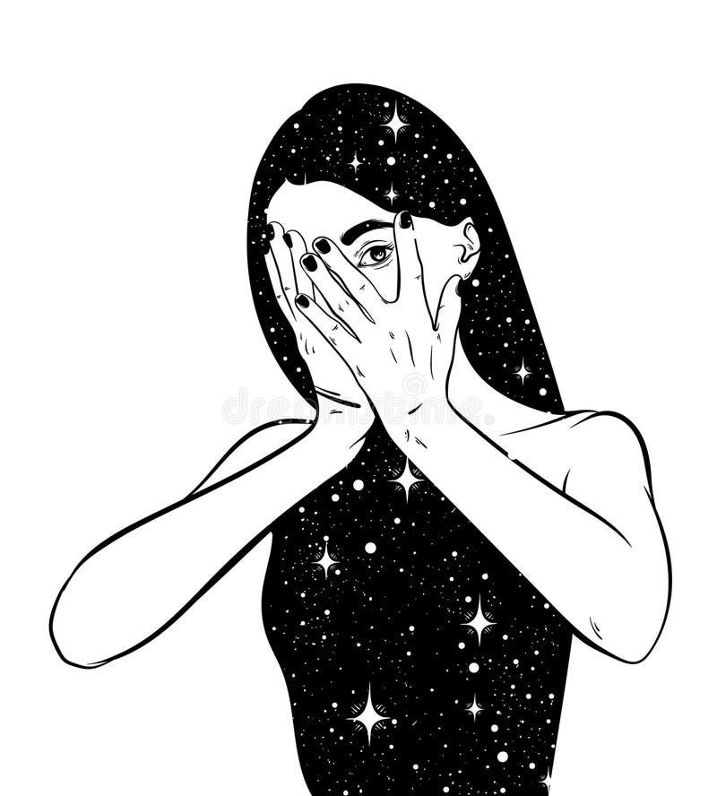 Vector hand drawn surreal illustration of woman stock illustration