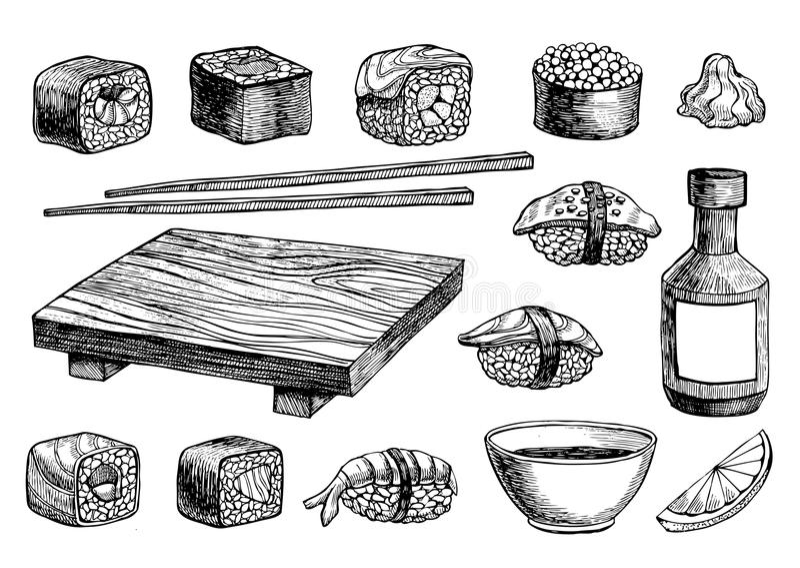 Vector hand drawn sushi set. royalty free illustration