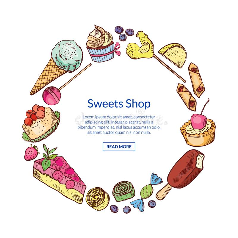 Vector hand drawn sweets circle concept. With place for text in center illustration royalty free illustration