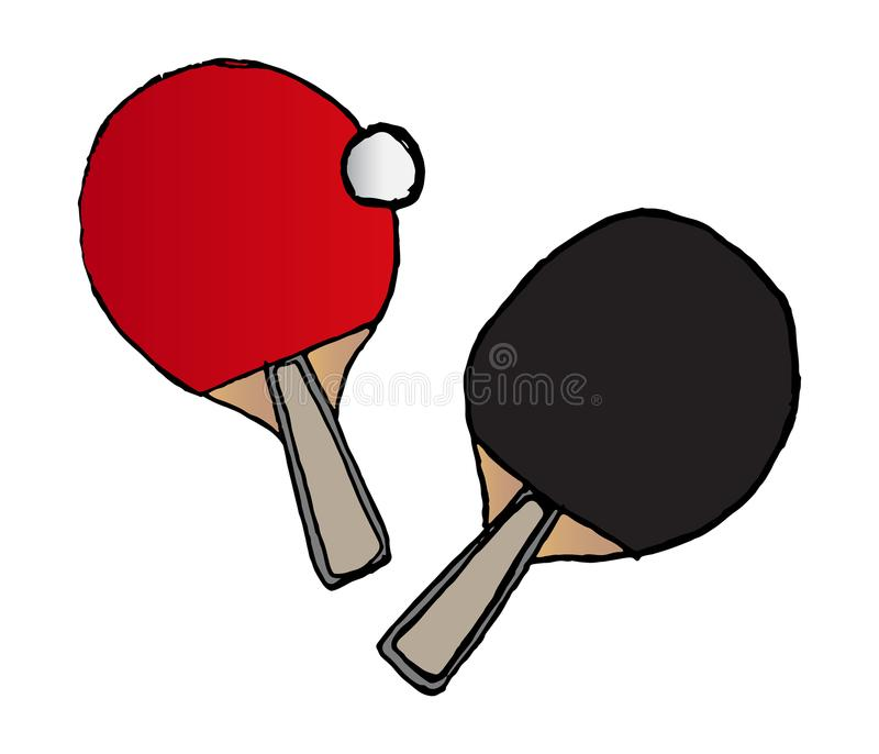 Vector hand drawn table tennis bats and ball vector illustration