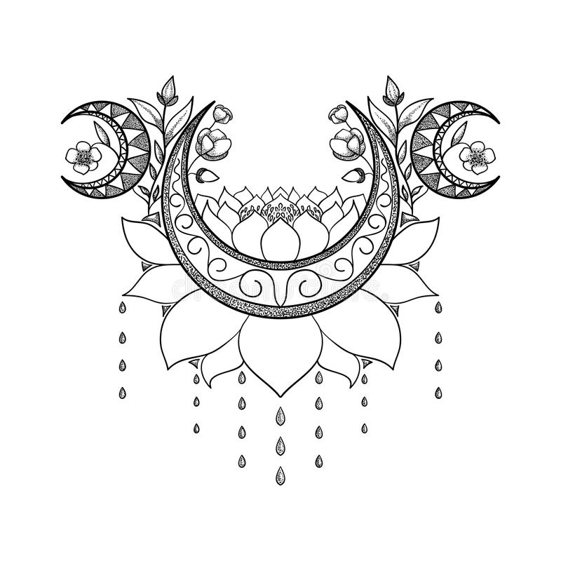 Vector hand drawn tattoo design. Crescent moon, lotus and flowers composition. Sacred theme royalty free illustration