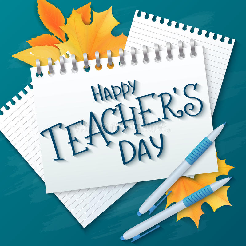 Vector hand drawn teachers day lettering greetings label - happy teachers day - with realistic paper pages, pencils and. Maple leaves on chalkboard background vector illustration