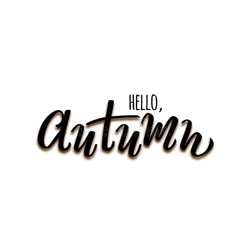 Vector hand drawn text Hello Autumn isolated on white background for seasonal promo and sales, printing, autumn holidays stock illustration