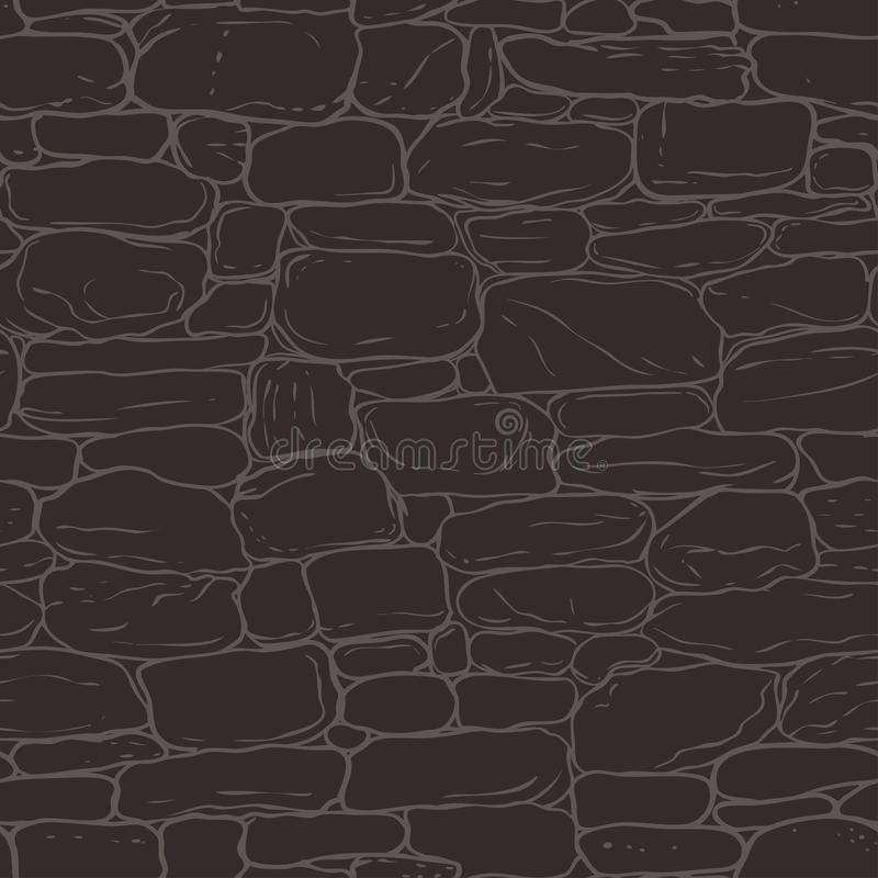 Vector hand-drawn textuur van bakstenen muur of kasseisteen (het bedekken) Seamle vector illustratie