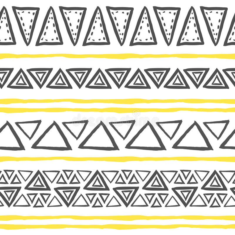 Vector hand drawn tribal pattern with triangles. stock illustration