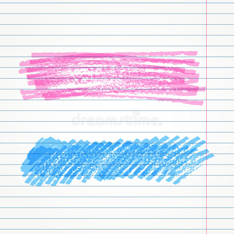 Vector hand drawn two marker strokes. Colorful stroke set. Highlighter elements for background. royalty free illustration