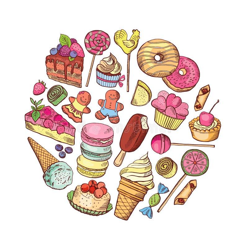 Vector hand drawn types of sweets circle concept. Vector hand drawn types of sweets food circle concept illustration stock illustration