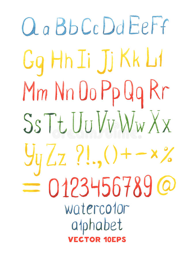 Vector Hand Drawn Watercolor Alphabet vector illustration