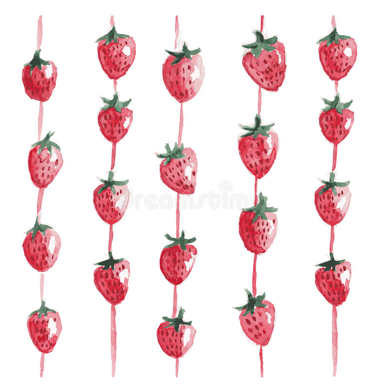 Vector hand drawn watercolor background with strawberries vector illustration