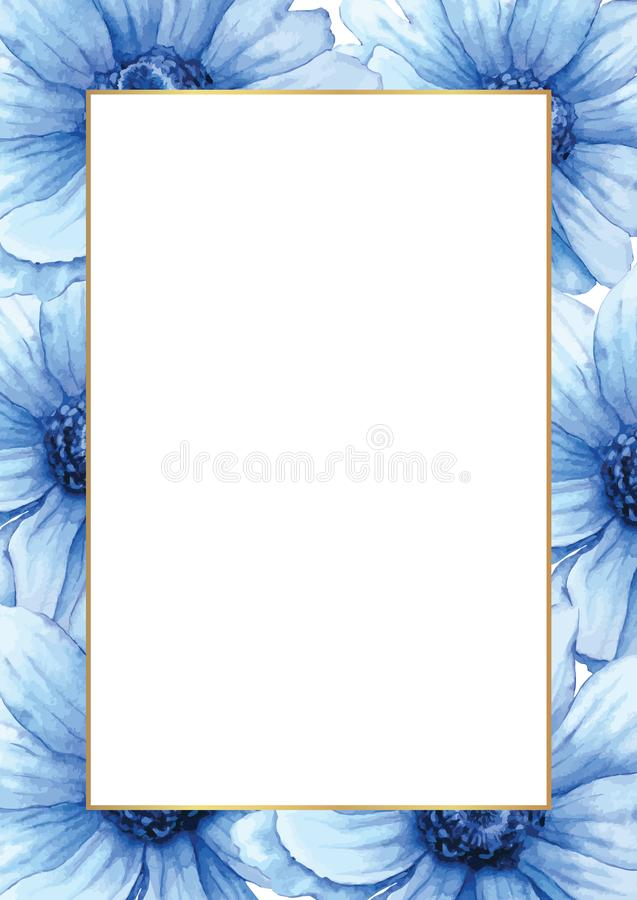 Vector Hand drawn watercolor frame or card. Blue anemones background with white space for your text stock illustration