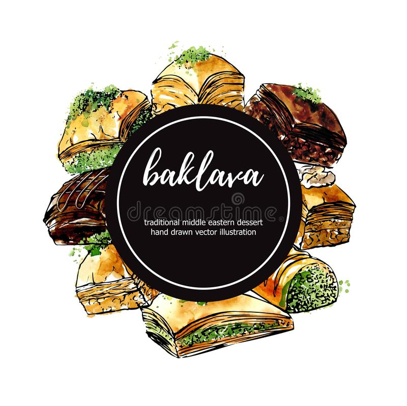 Vector hand drawn watercolor illustration with turkish dessert baklava in circle composition. Vector illustration with famous middle eastern dessert Baklava vector illustration