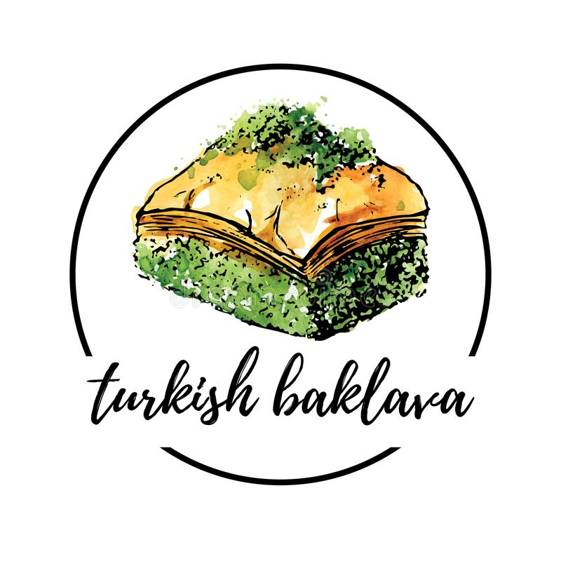 Vector hand drawn watercolor illustration with turkish dessert Baklava. Vector illustration of turkish delight Baklava with pistachio in circle composition. Hand royalty free illustration