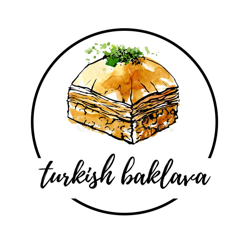 Vector hand drawn watercolor logo of middle eastern dessert Baklava. Vector illustration of turkish delight Baklava with pistachio in circle composition. Hand stock illustration