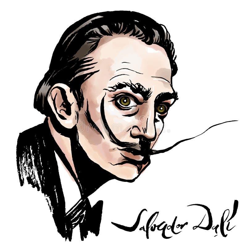 Salvador Dali watercolor portrait. Vector hand drawn watercolor portrait with famous artist Salvador Dali and his signature royalty free illustration