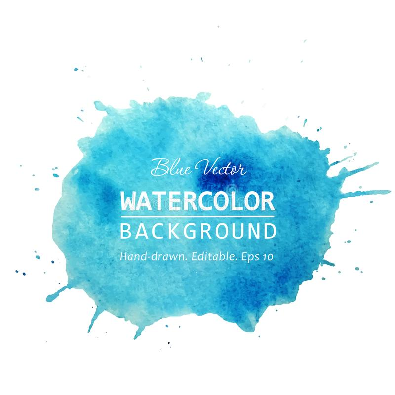 Vector hand drawn watercolor spot with splashes. Watercolor texture background. Vector hand drawn watercolor wet spot with droplets, stains, splashes on white royalty free illustration
