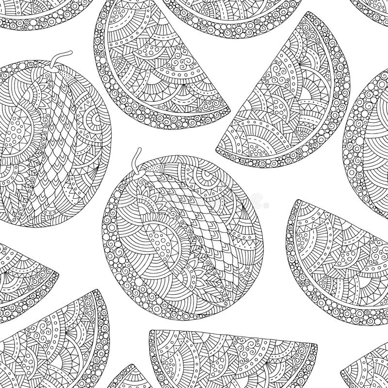 Vector hand drawn watermelon illustration for adult coloring book. Freehand sketch for adult anti stress coloring book stock illustration