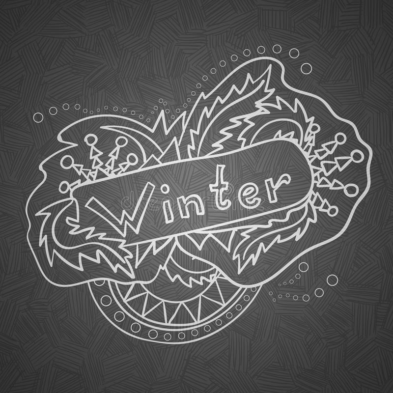 Vector hand drawn winter illustration. Hand lettering and doodles elements for your design vector illustration